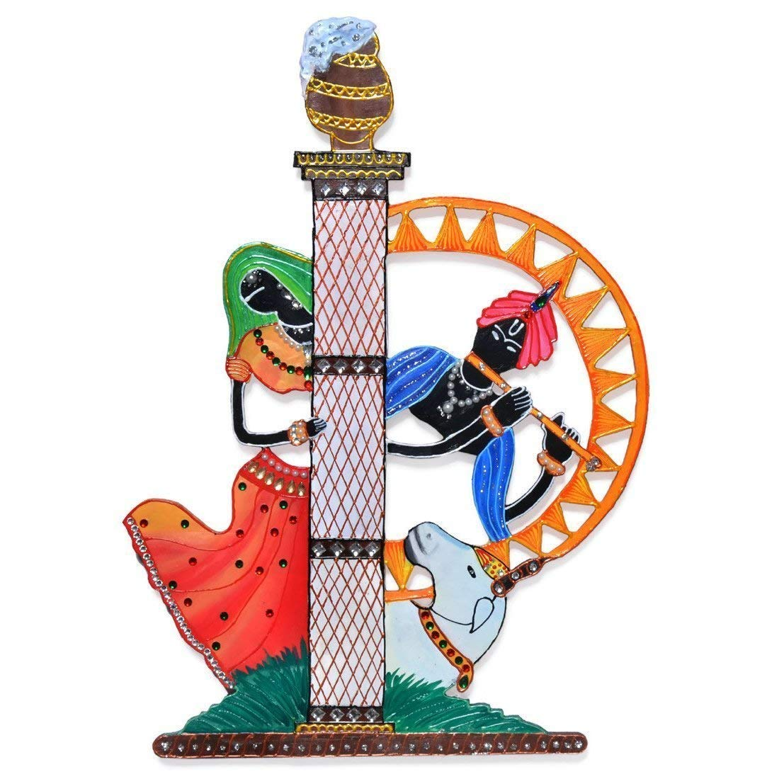 Wall Decor Art Hanging of Radhe Shyam - Radha Krishna - Handcrafted Eco Friendly Wooden Hand Painted Hand Decorated in India