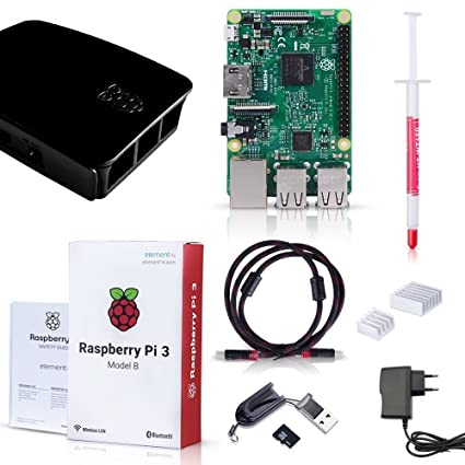 Raspberry Pi 3 Modelo B Quad-Core 1.2 GHz 1GB RAM con Tarjeta de 32GB y Accesorios Starter Kit Desktop