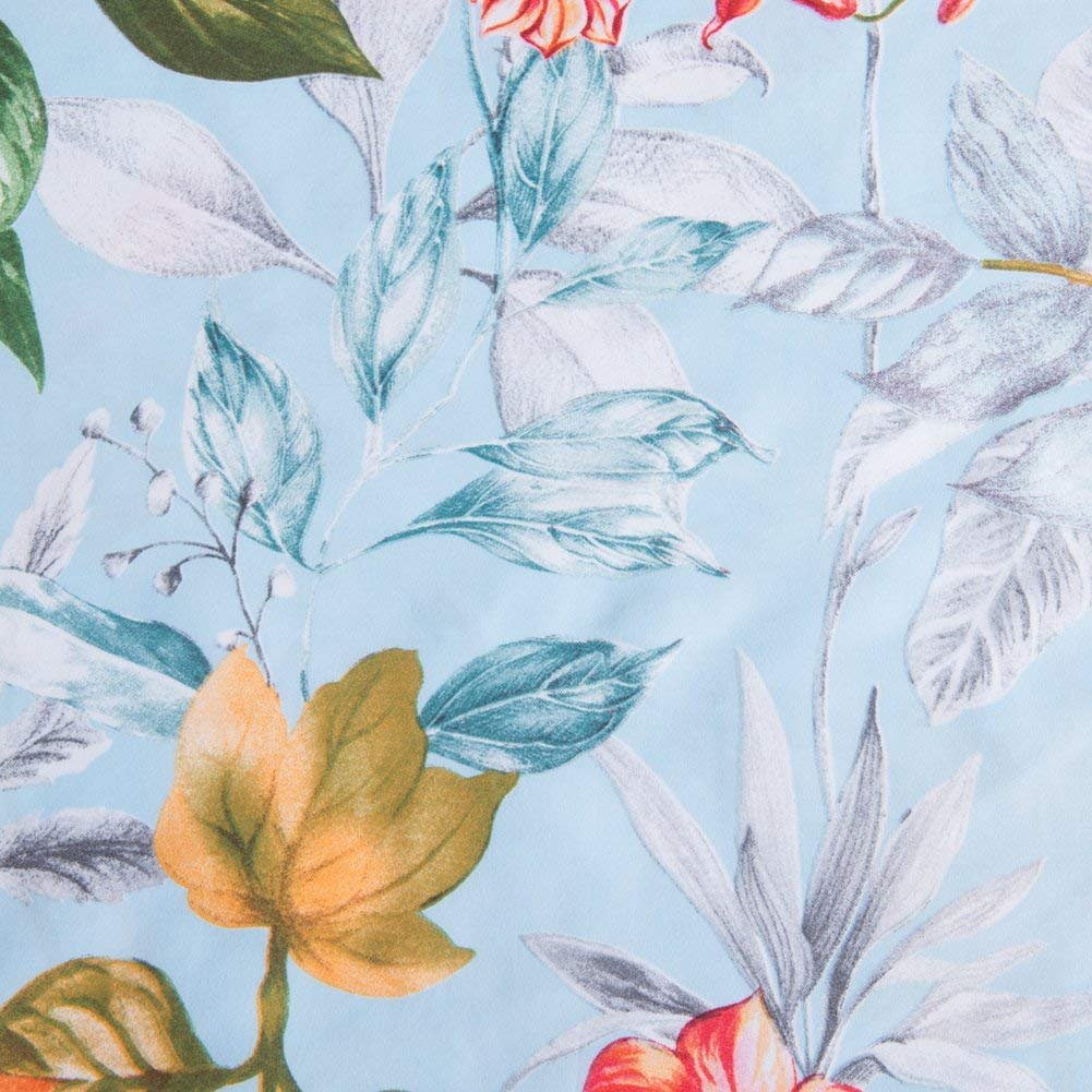 Leadtimes Queen Flower Duvet Cover Set, Girls Floral Leaf Sky Blue Bedding Set with Soft Lightweight Microfiber 1 Duvet Cover and 2 Pillowcases New Edition (Queen, Blue Floral) by Leadtimes (Image #5)