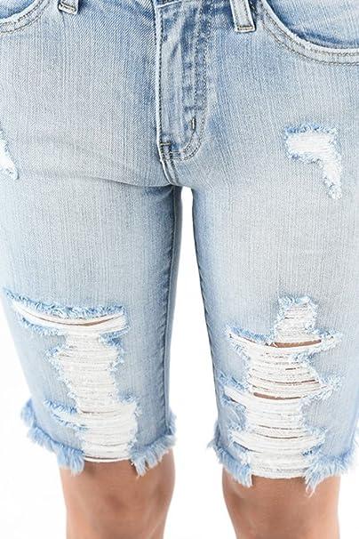 59c78bc378c Nature Denim Distressed Bermuda Shorts at Amazon Women s Clothing store