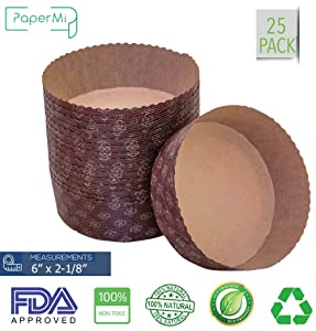 """Round Paper Baking Cake Pan, Disposable Baking Mold 25ct, All Natural FDA Approved, Recyclable, Microwave Oven & Freezer Safe, Providing Beautiful Display For Baked Goods.(6""""x2-1/8"""")"""