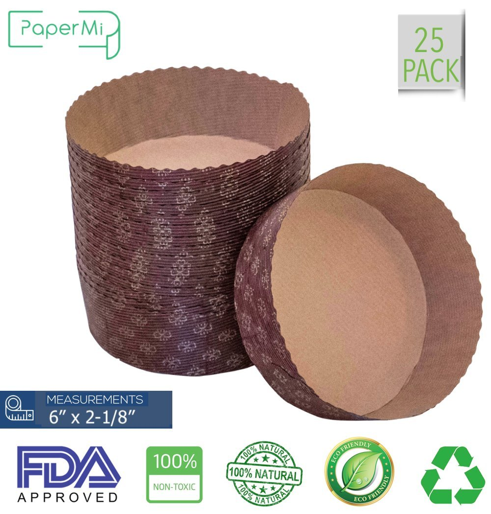 """Round Paper Baking Cake Pan, Disposable Baking Mold 25ct, All Natural FDA Approved, Recyclable, Microwave Oven & Freezer Safe, Providing Beautiful Display For Baked Goods.(6""""x2-1/8"""") by PaperMi"""