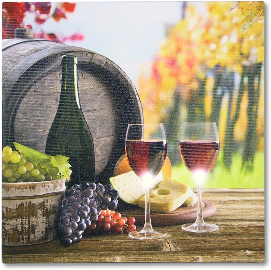BANBERRY DESIGNS Wine Decor for Kitchen - LED Canvas Prints - Vineyard Scene with Red Wine and Grapes - Wine Themed Canvas Print - Lighted Wine Pictures