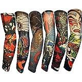 Efivs Arts Samurai Style Temporary Tattoo Sleeves Fake Tattoo Temporary Tattoo Arm Stockings, 6 Pcs