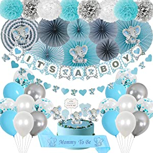 Elephant Baby Shower Decorations – It's a Boy Baby Shower in Blue and Gray Theme – Cute Elephant Party Kit – Virtual Baby Shower Decorations – Multipurpose Elephant Décor – Ready To Install