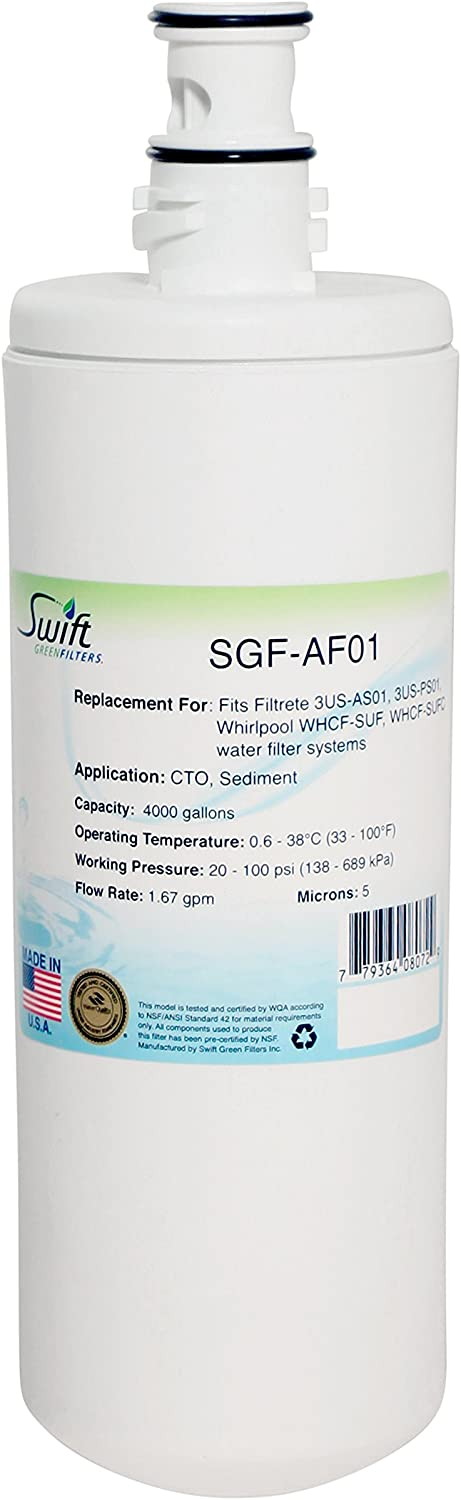 Swift Green Filters SGF-AF01 Replacement for 3M 3Us-Af01, 3Us-PS01, Whirlpool Whcf-Suf (1 Pack)