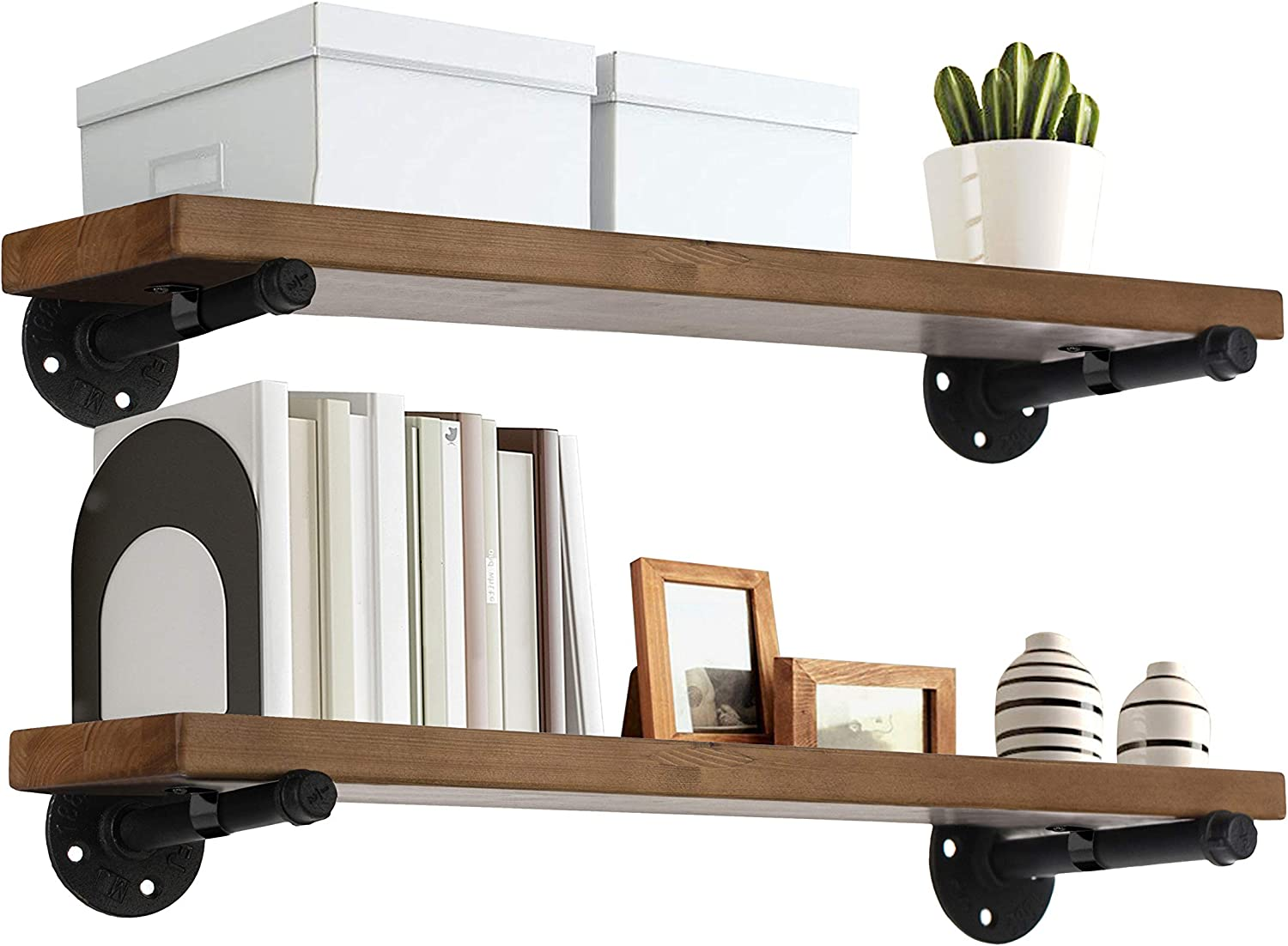 """TEN49 Industrial Wood Shelf - 24"""" Espresso Rustic Wooden Wall Shelves with Iron Pipes - Contemporary Interior Decor Floating Shelving with Pipe Brackets - Farmhouse Style Bookshelf Set of 2"""