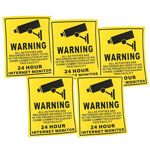OWSOO 5pcs Cartel Alarma Impermeable PVC CCTV Señales de ...