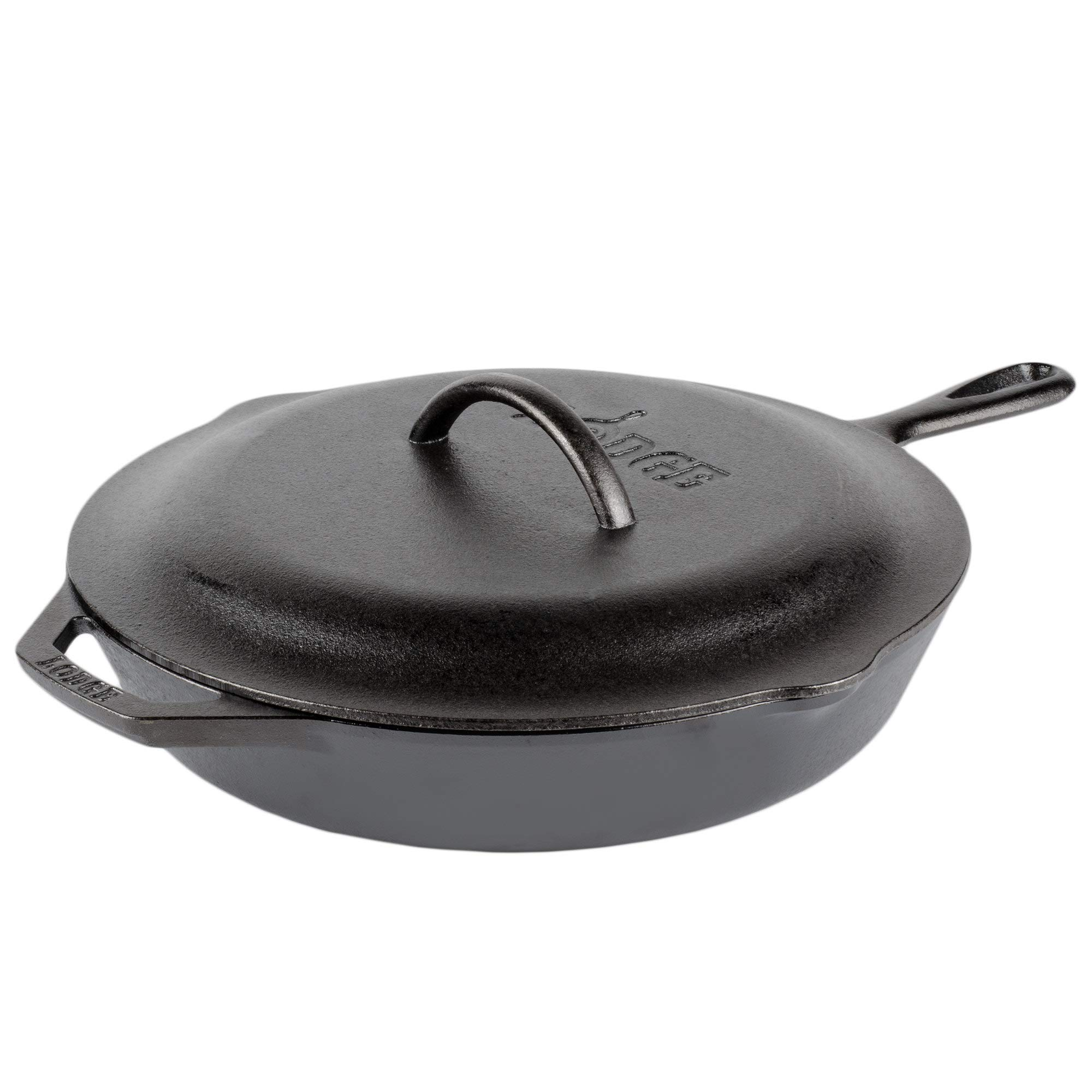 Lodge Seasoned Cast Iron Skillet - 12 Inch Ergonomic Frying Pan with Assist Handle with Cast Iron Cover