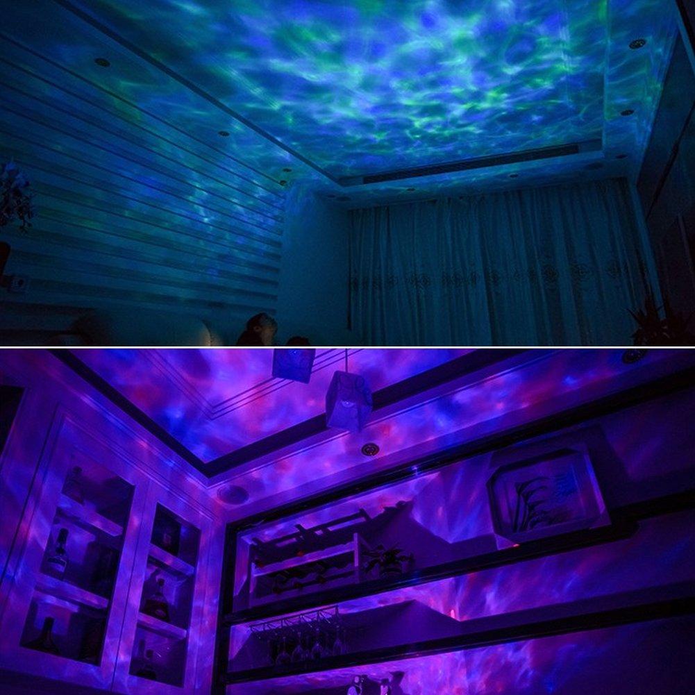 12/LED Noir Songsun t/él/écommande Ocean Wave Vid/éoprojecteur lumi/ère dambiance 12/LED et 7/couleurs Veilleuse avec mini lecteur de musique int/égr/é pour le salon et la chambre /à coucher