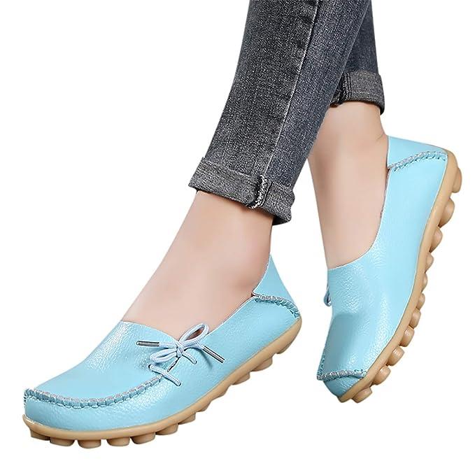 Mujer Mocasines De PU Moda Loafers Con Lazo Respirable Ligero Casual Antideslizante Zapatos De Conducción Con