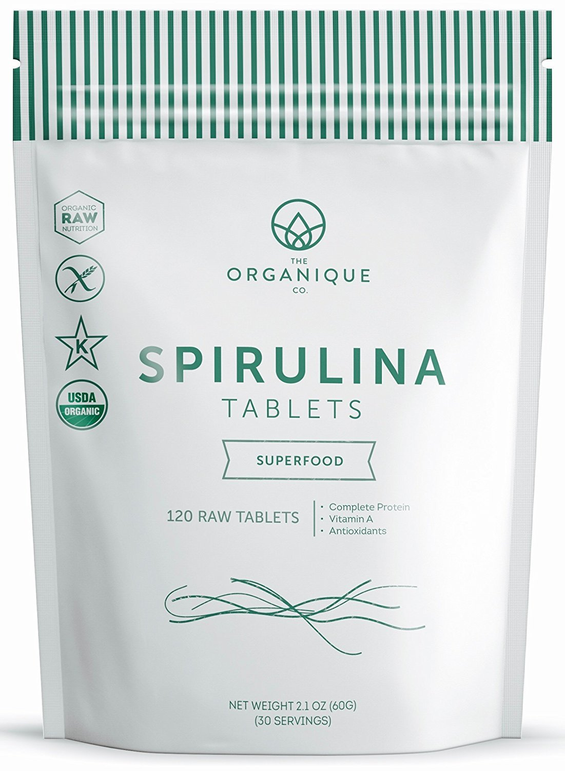 Spirulina Tablets 240ct 500m - Boosts Energy, Supports Immunity - Certified Organic Superfood, Non-Irradiated, Raw, Non-GMO, Vegan, Gluten Free - Nutrient Density Bioavailability - by Organique