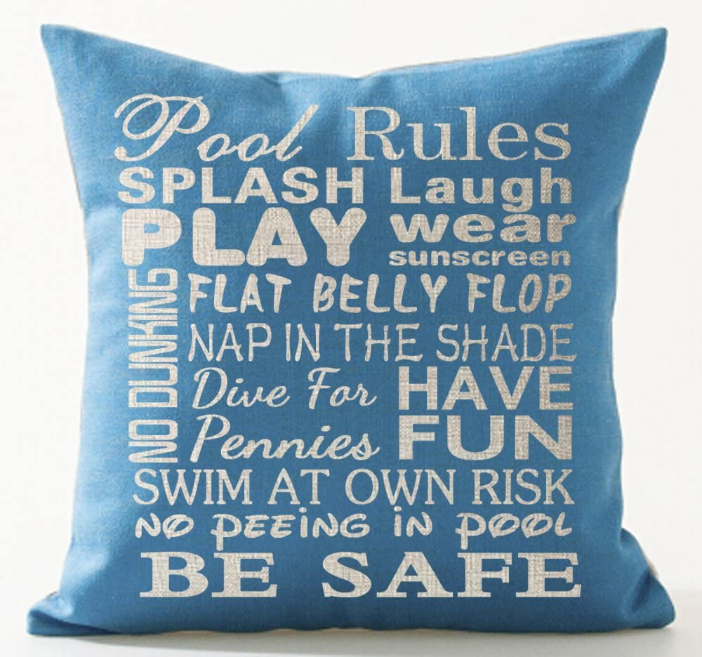 Queen S Designer Warm Saying Pool Rules Splash Laugh Play Wear Sunscreen Be Safe Sky Blue Background Cotton Linen Decorative Throw Pillow Case Cushion Cover Square 18 X18 Home Kitchen