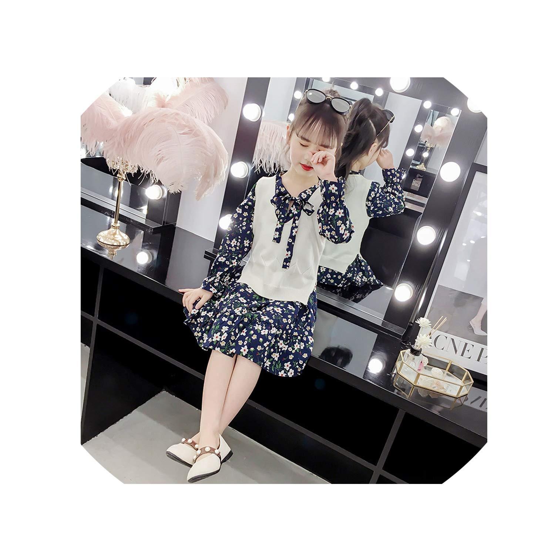 3-12 Yrs Baby Girls Long Sleeve Dress Knit Vest+Dress Print 2 Piece Sets Children Dresses 2019 New Winter Spring Kids Costume,Black,3T