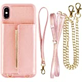 Wallet Case for iPhone Xs MAX Card Holder Case with Crossbody Strap, ZVEdeng Shockproof Wallet Case with Chain, Mini Crossbody Bag for iPhone Xs MAX - Rose Gold