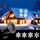 Christmas Lights, White Moving Snowflake Light Projector Holiday Outdoor Decorations Waterproof for Landscape Garden Halloween Thanksgiving Christmas Party