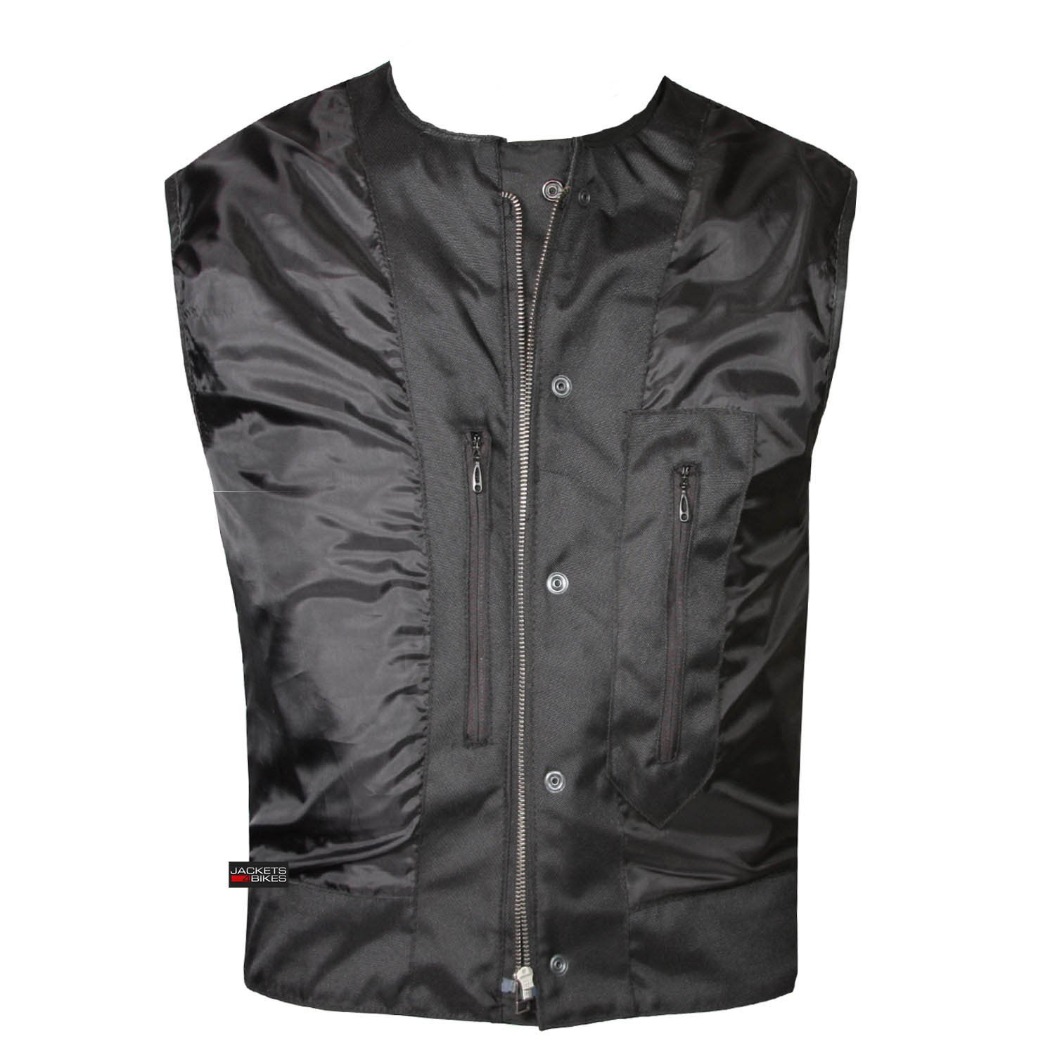 SOA Collarless Leather Vest Anarchy Motorcycle Biker Concealed ...