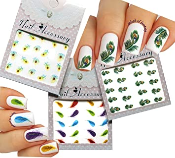 Amazon nail art water tattoo nail art stickers peacock nail art water tattoo nail art stickers peacock feather 3 pack prinsesfo Image collections