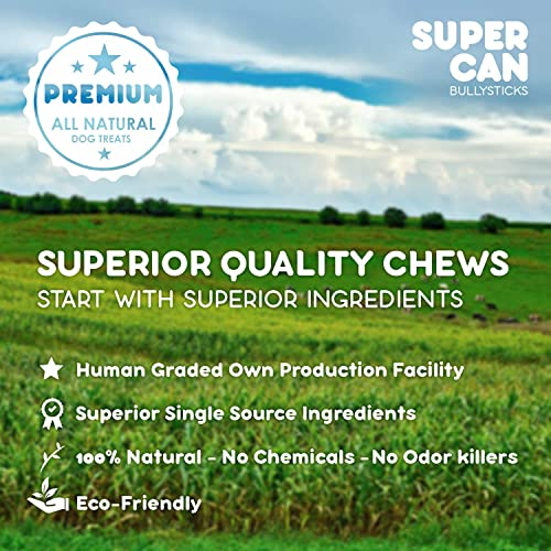 SUPER CAN BULLYSTICKS Angus Beef Jerky Dog Chew Treats, All Natural and Healthy Free Range Beef Sticks for Dogs – High Protein Chews, Glucosamine Rich and Fully Digestible for Happy and Healthy Pups