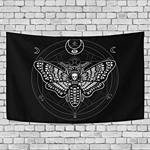 ALAZA Moth Moon and Mystical Circle Art Tapestry Wall Hanging for Living Room Dorm Bedroom Home Decor
