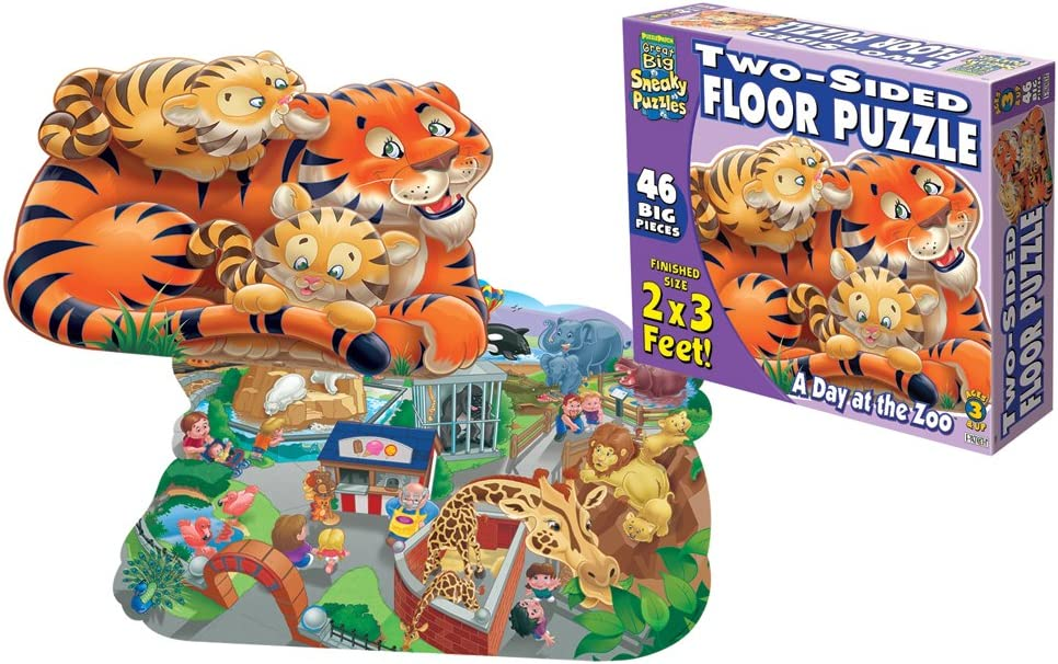 Set 4 Jigsaw Puzzle Reversible Safari Animal Lion Tiger Children/'s Kids Toy game