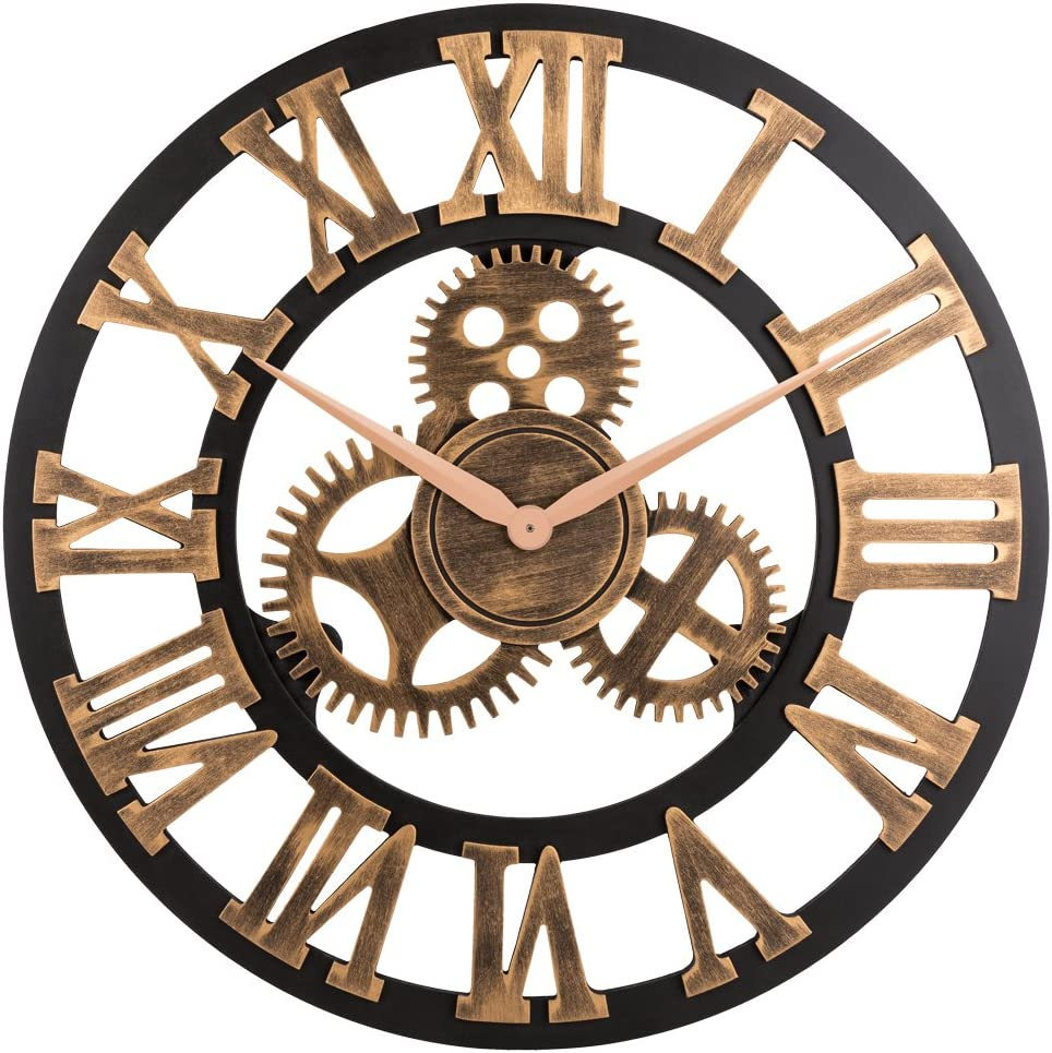 "23"" inch Noiseless Silent Gear Wall Clock - Large 3D Retro Rustic Country Decorative Luxury Art Big Wooden Vintage Steampunk Industrial decor for House Warming Gift,(Roman Numeral,Anti-Bronze)"