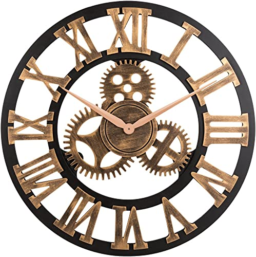 23 inch Noiseless Silent Gear Wall Clock – Large 3D Retro Rustic Country Decorative Luxury Art Big Wooden Vintage Steampunk Industrial decor for House Warming Gift, Roman Numeral,Anti-Bronze