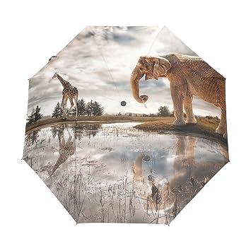 yoshop Auto paraguas, diseño de elefante y ciervos automático resistente al viento lluvia paraguas plegable