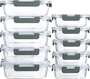 [10 Pack]Glass Meal Prep Containers with Lids-MCIRCO Glass Food Storage Containers with Lifetime Lasting Snap Locking Lids, Airtight Lunch Containers, Microwave, Oven, Freezer and Dishwasher Safe