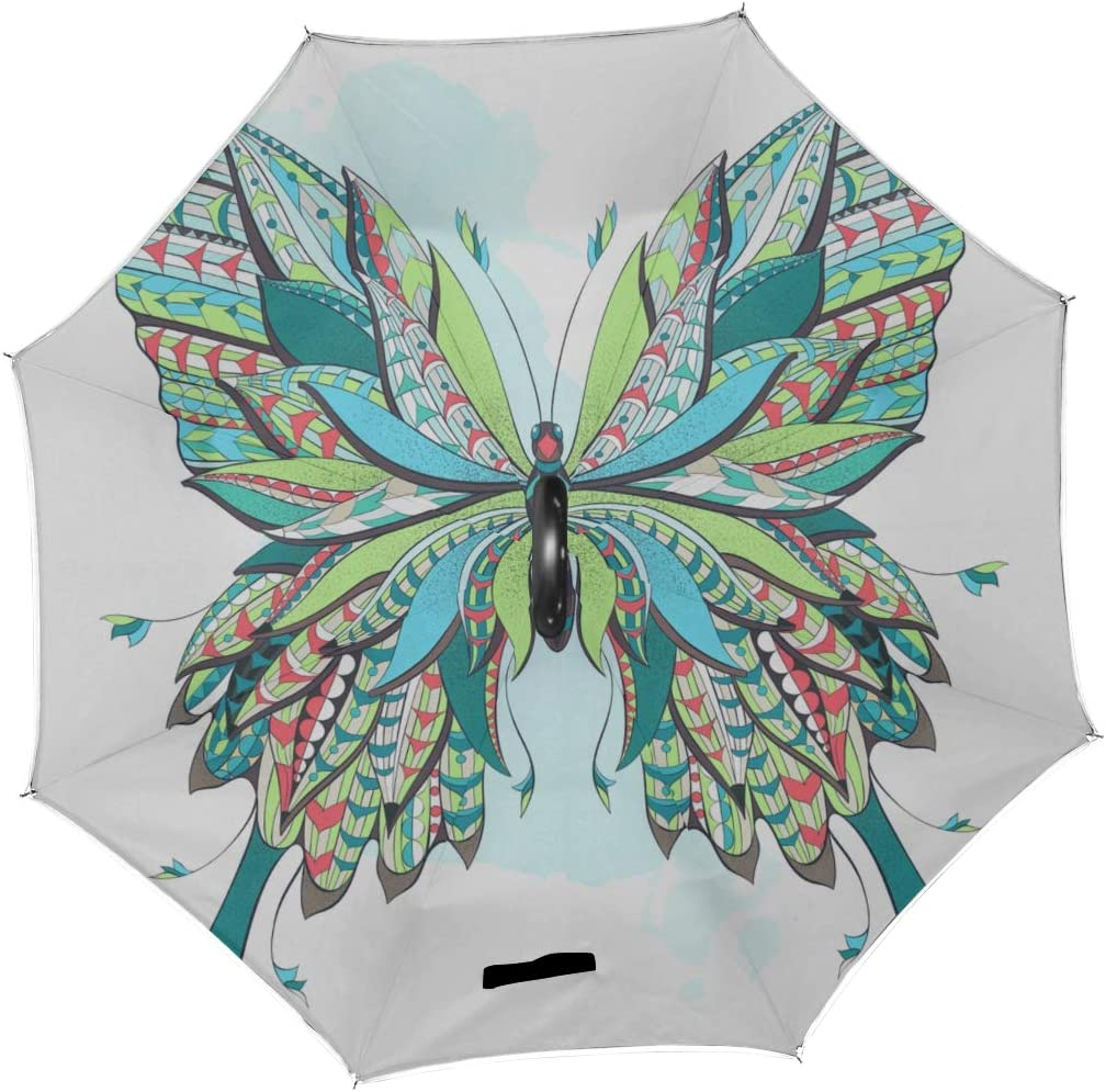 Double Layer Inverted Inverted Umbrella Is Light And Sturdy Patterned Butterfly On Ornate Reverse Umbrella And Windproof Umbrella Edge Night Reflecti
