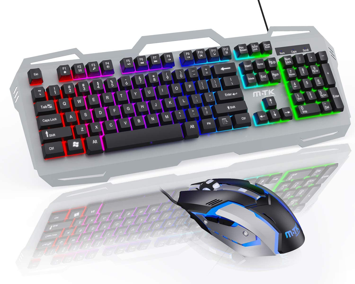 Wired Office Keyboard and Mouse Combo USB Keyboard with Wrist Rest and 1800 DPI Optical Mouse Set for PC Laptop