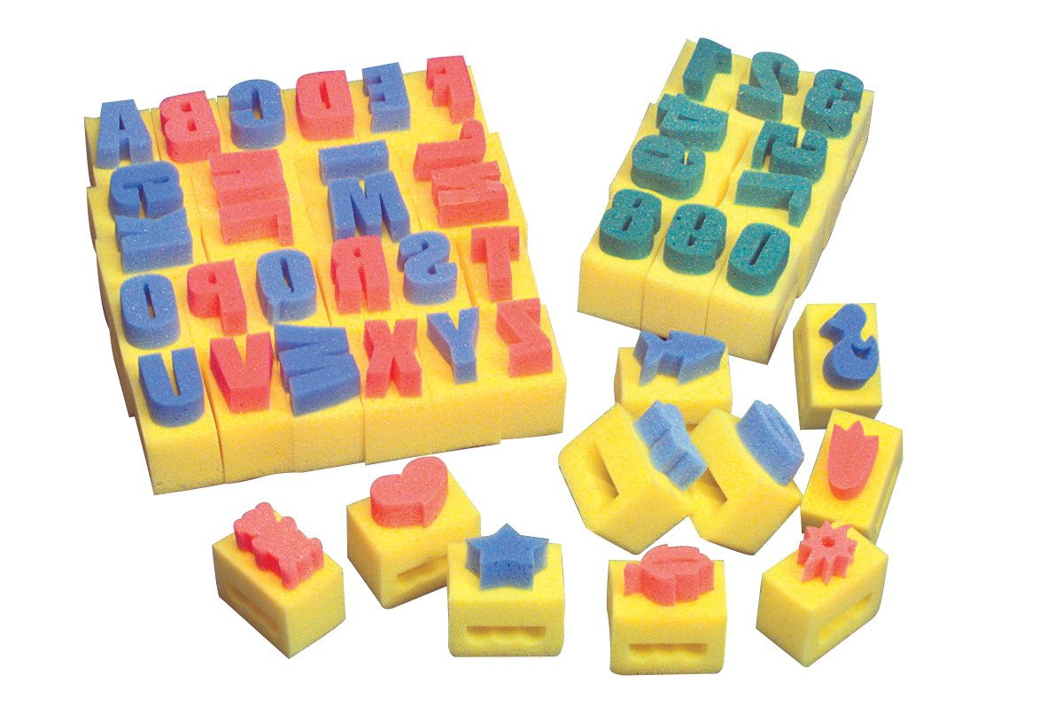 School Smart Alphabet Handle Sponges - 2 x 3 x 3 1/2 inches - Set of 26 - Yellow