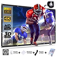 Projector Screen, Homemaxs Movie Screen 120 Inch 16:9 HD Foldable Anti-Crease Portable Projector Movie Screen for Outdoor Indoor Home Theater Rugby Game Movie Screen Support Double-Sided Projection