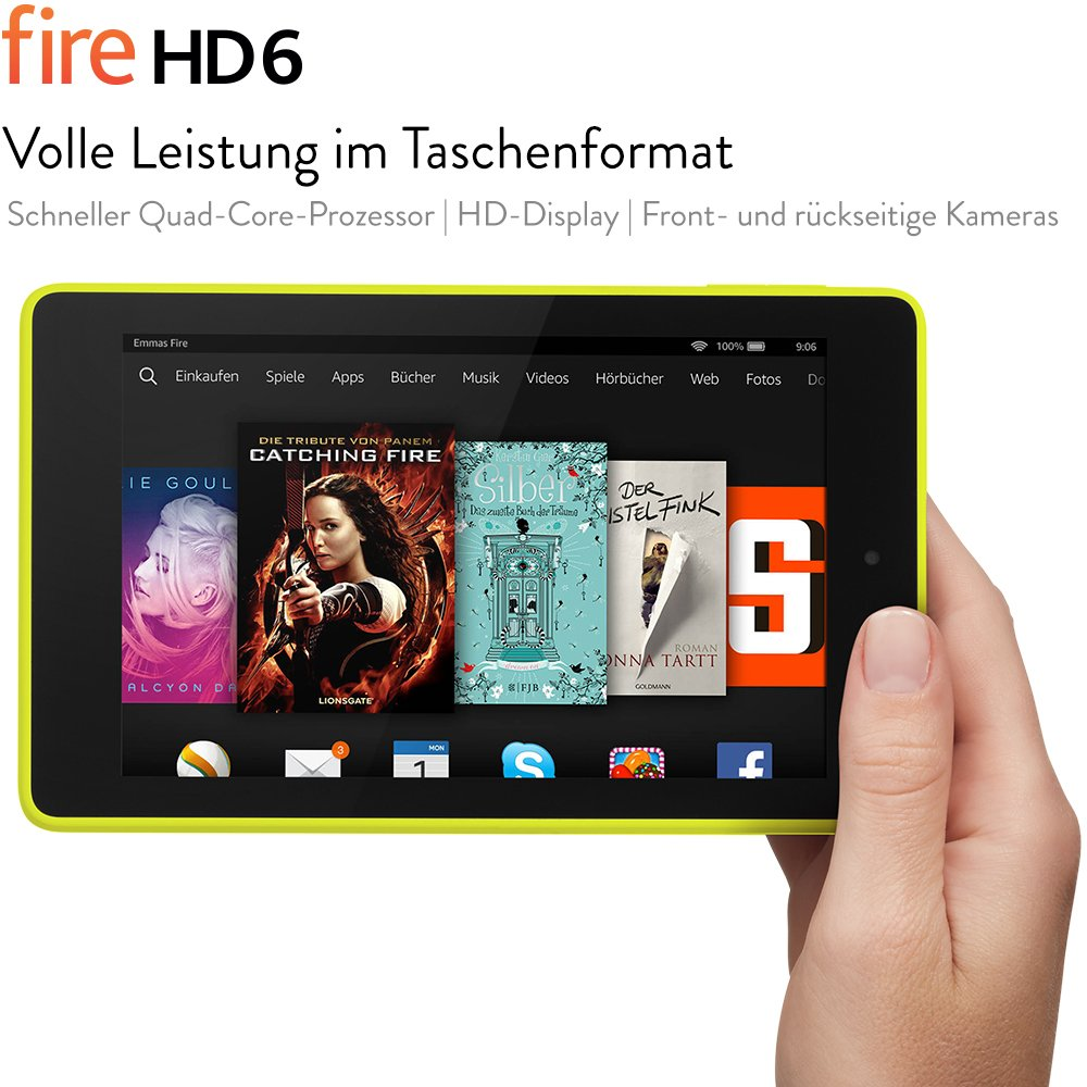 Fire HD 6, 15,2 cm (6 Zoll), HD-Display, WLAN, 8 GB (Limone)