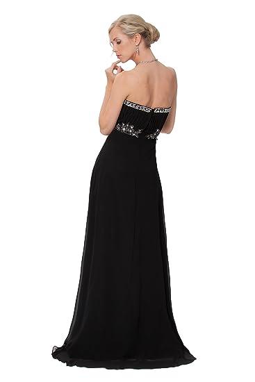 Feminine Strapless Beaded Black Long Evening Prom Dress UK NEXT DAY DELIVERY (UK8): Amazon.co.uk: Clothing
