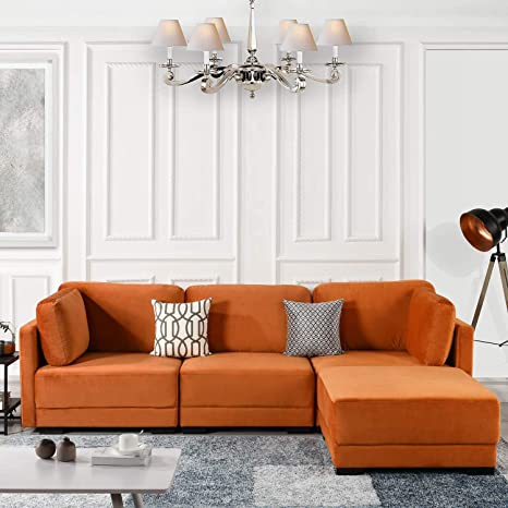 Orange Modular Sectional Sofa Couch Convertible Sofa Sectional w/Reversible Chaise Ottoman, 3 Piece (Custom Couch Feature) Modern L-Shaped Sectional ...