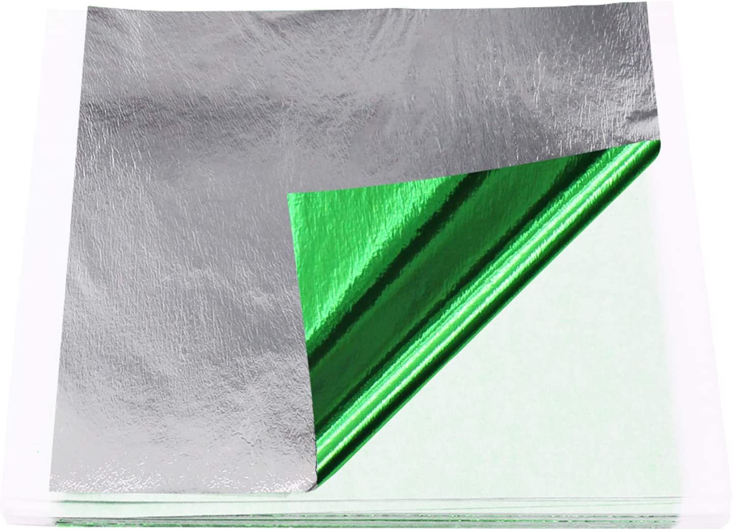 KINNO Imitation Gold Leaf Sheets - Green Silver Foil Multipurpose for Home, Wall, Frame, Ceiling, Furniture Decoration, 100 Sheets 5.1 by 5.3 Inches