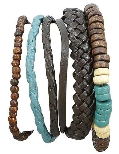 Indisches Leder Seil Colorful Bead Armband für Männer handgefertigt ...