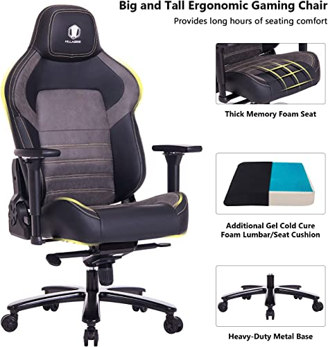 VON RACER Big and Tall 440lb Gaming Chair Racing Office Chair – Gel Cold Cure Foam Lumbar Seat Cushion 4D Adjustable Arms, Heavy Duty Metal Base, Swivels Reclines Ideal For Gamers Office Workers