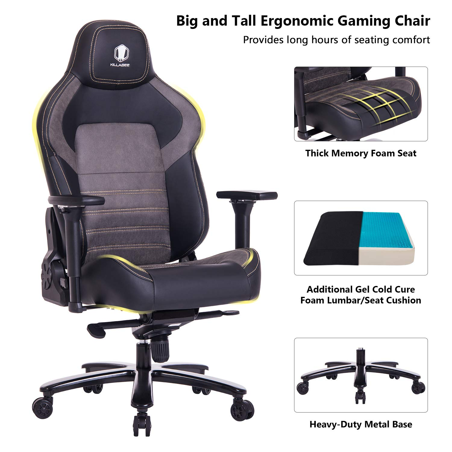 KILLABEE Big and Tall 440lb Memory Foam Gaming Chair - Gel Cold Cure Foam Lumbar/Seat Cushion & 4D Adjustable Arms, Heavy Duty Metal Base, Swivels & Reclines Ideal for Gamers & Office Workers