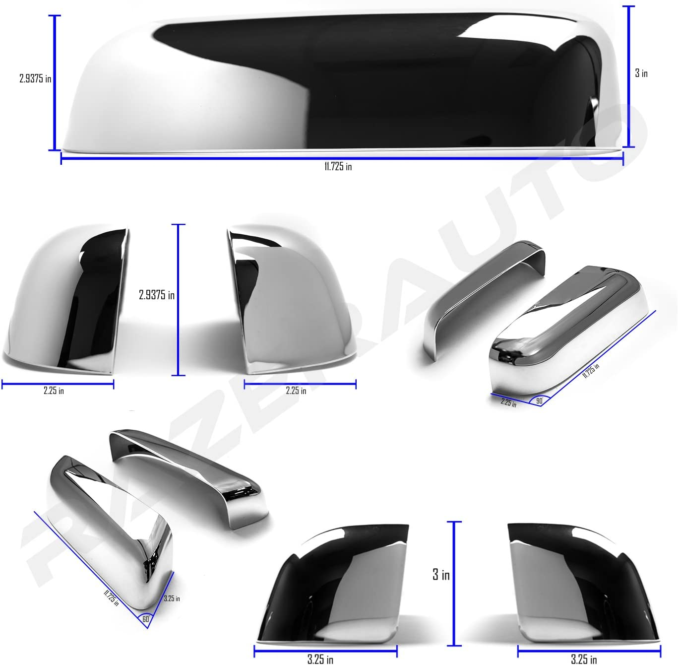 Razer Auto Triple Chrome Plated Top Half Mirror Cover Caps Trim Pair for 2009-2014 Ford F150 RZWMC-0073 Does not fit Towing Mirrors