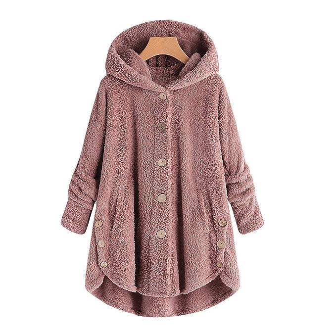Amazon.com: Chaqueta de invierno con capucha y botón suelto ...