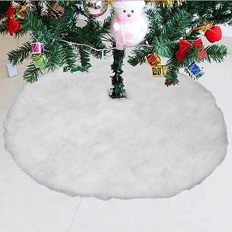 Konsait base de árbol de Navidad falda 31.5 pulgadas de diámetro forma redonda nieve blanca faldas