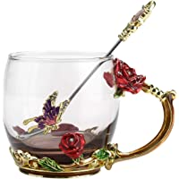 NBHUZEHUA Unique Enamel 3D Flower Glass Mugs with Spoon as Gift for Her