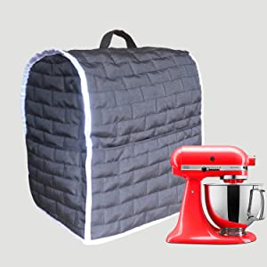 Stand Mixer Dust Cover for Mixers,Cloth Cover with Pockets for Extra Attachments (Black, Fits for All 6-8 Quart)