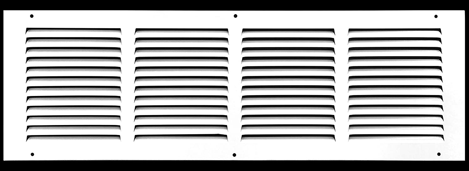 "24""w X 8""h Steel Return Air Grilles - Sidewall and Ceiling - HVAC Duct Cover - White [Outer Dimensions: 25.75""w X 9.75""h]"
