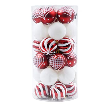 Christbaumkugeln Plastik.Valery Madelyn 30tlg 6cm Plastik Weihnachtskugeln Lieber Weihnachtsmann Thema Rot Weiß Bruchsicher Christbaumkugeln Mit Aufhänger