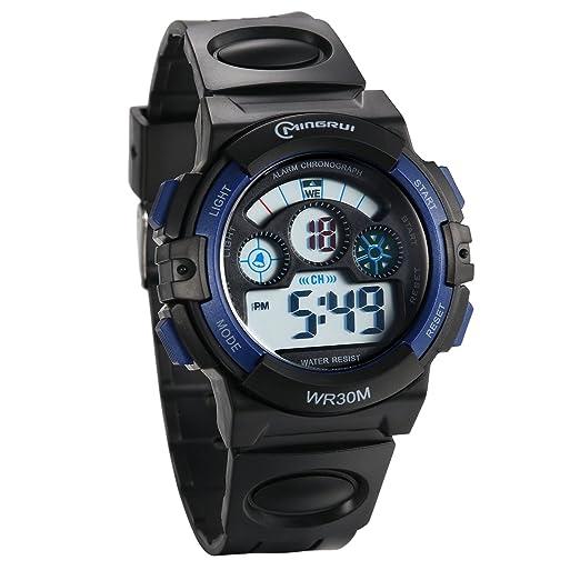 JewelryWe Reloj Digital de Chicos Adolescentes Reloj Militar Deportivo Grande Correa de PVC A Prueba de