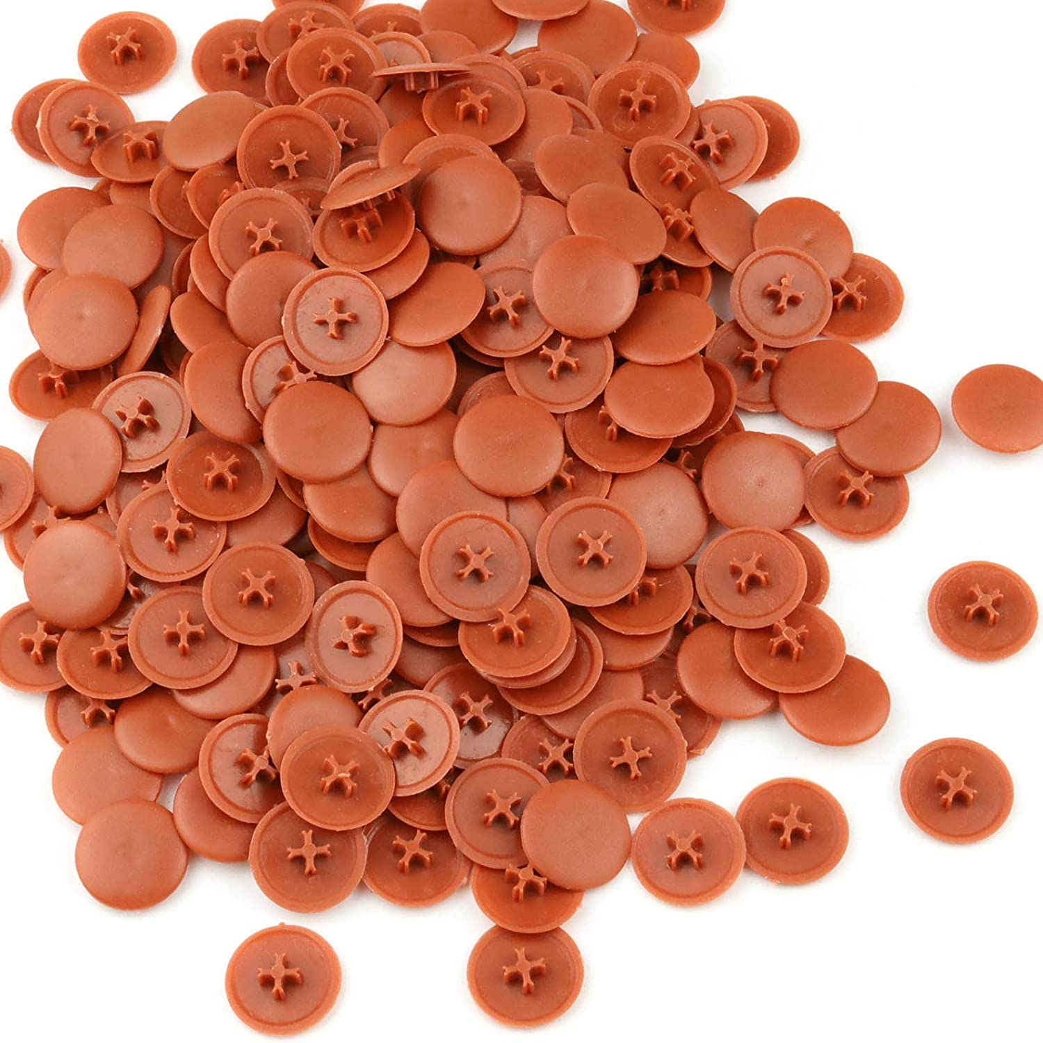 1000 Pcs 16.8mm Plastic Screw Cap Covers Self-Tapping Plastic for Phillips Screw (Light Brown)