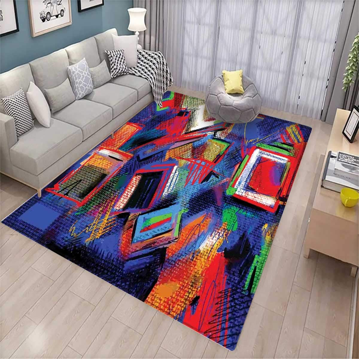 Contemporary Room Home Bedroom Carpet Floor Mat Abstract Hand Painted Style Composition Artistic Creativity Modern Grunge Look Floor Mat Pattern Multicolor